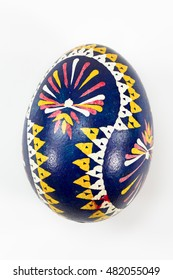 isolated Sorbian painted easter egg on white background