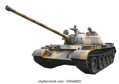 isolated soviet light tank on white background