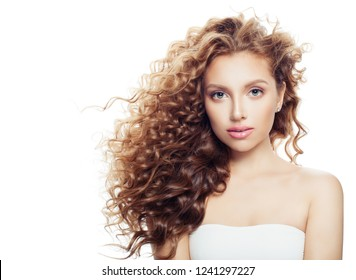 Isolated spa woman with healthy skin and perfect wavy hairstyle. Spa beauty, cosmetology, facial treatment and wellness concept