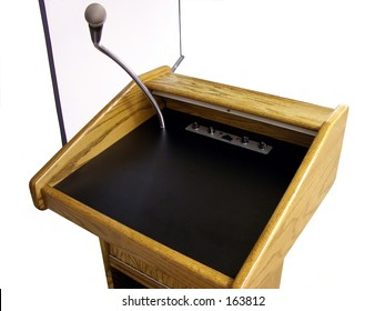 Isolated speakers stand and projection screen.