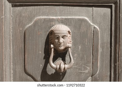 Isolated Sphinx doorknob (Marche, Italy, Europe)