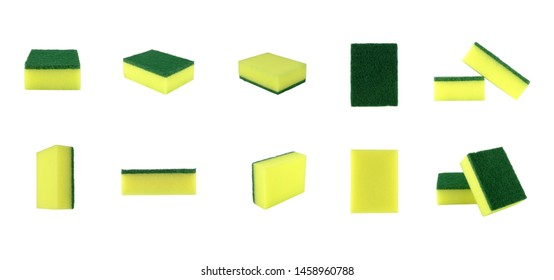 isolated sponge collection in many size on white background