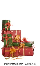 Isolated stack of christmas presents in red and green