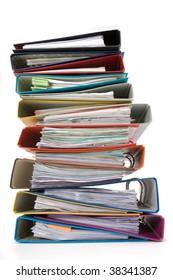Isolated stack of folders isolated on white background