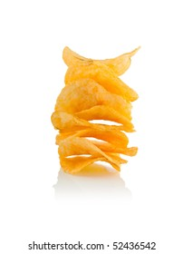 An isolated stack of potato chips