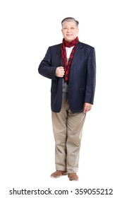 isolated standing old asian man with blue suit and red scarf