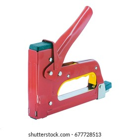 isolated staple gun or trigger tacker with clipping path.