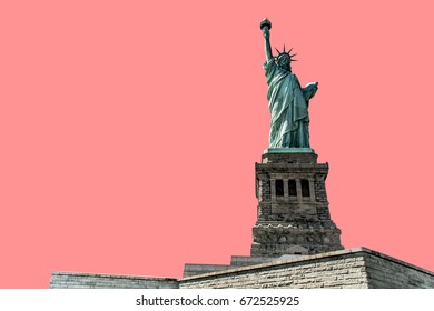 isolated Statue of Liberty on pink background New York City USA