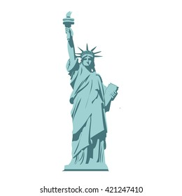 Isolated statue of liberty on white background. Flat style. illustration Raster version