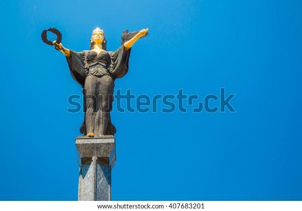 Isolated Statue of Sveta Sofia (The Statue of Saint Sophia) - a monumental sculpture in Sofia, Bulgaria