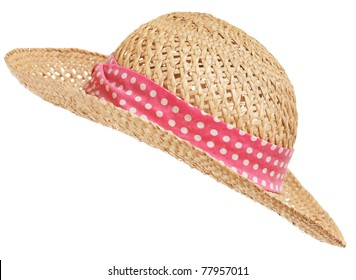 Isolated straw hat, diagonal
