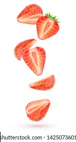 Isolated strawberries floating in the air. Falling pieces of strawberry fruits isolated over white background with clipping path