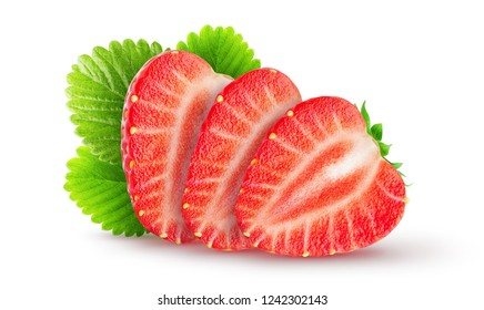 Isolated strawberries with leaves. Sliced strawberry fruits isolated on white background, with clipping path