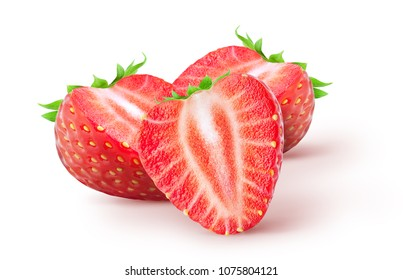 Isolated strawberries. Three cut strawberry fruits isolated on white background, with clipping path