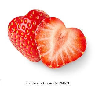 Isolated strawberries. Two heart shaped strawberry fruits cut in half isolated on white background