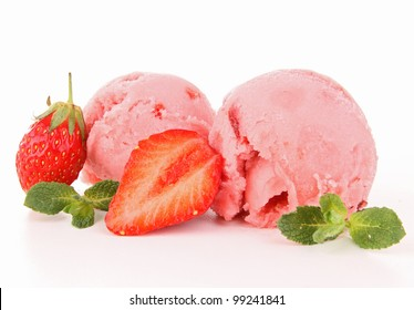 isolated strawberry icecream
