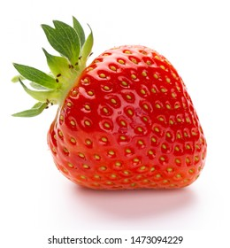 Isolated strawberry. Single strawberry fruit isolated on white background, with clipping path - Image