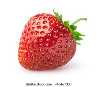 Isolated strawberry. Single strawberry fruit isolated on white background, with clipping path