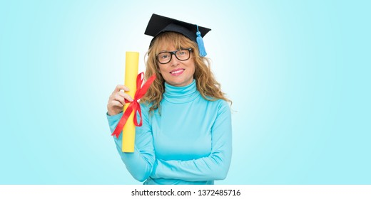 isolated student with graduation cap
