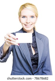 Isolated Studio Portrait Of A Gorgeous Woman Holding A Blank Business Card With Copy Space Or Room For Text In A Notecard Placard And Presentation Concept