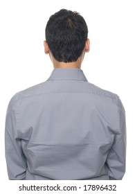 Isolated studio shot of the back of a businessman's torso.