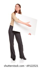 Isolated studio shot of a Caucasian businesswoman holding a large blank sign and reaching out to shake hands as if she were giving away a novelty prize check.