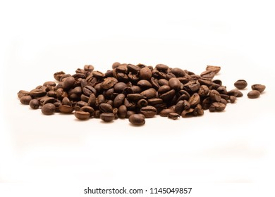 Isolated Studio shot. Coffee bean On white