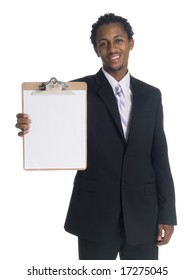 Isolated studio shot of a smiling businessman presenting a clipboard.