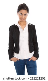 Isolated successful happy indian business woman over white wearing blazer, blouse and blue jeans.