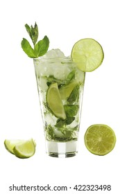 isolated. Summertime. Long drink. Mojito. A refreshing drink. Isolated on white background. Vintage