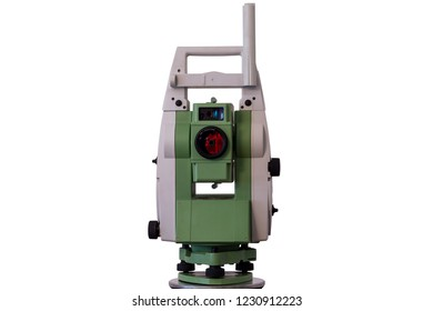 Isolated surveyor equipment (theodolite or total positioning station) with white background