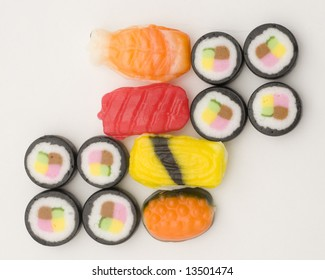 Isolated Sushi that is actually candy.