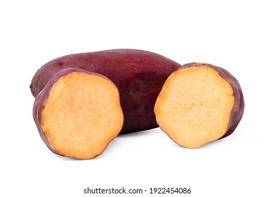 Isolated sweet potato. Raw sweet potato with sliced on white background. clipping path.