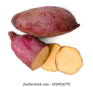 Isolated sweet potato. Top view raw sweet potato with sliced on white background. clipping path.