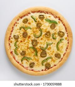 Isolated Taco pizza with jalapeno