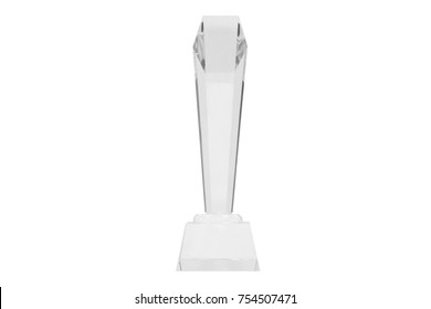 isolated tall acrylic awards on white background