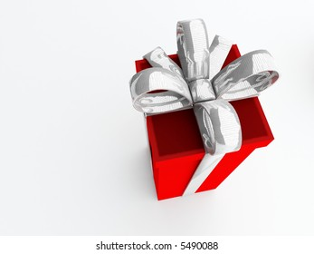 isolated tall present with large metallic silver bow