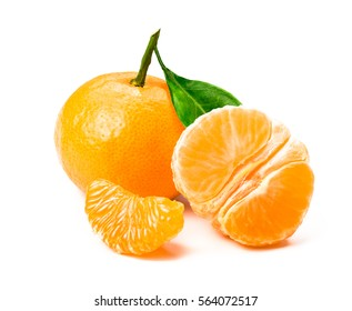 Isolated tangerine or clementine fruit on white background. Macro. Slice of mandarin.