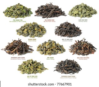 Isolated teas. Piles of 10 famous chinese oolong teas isolated on white background