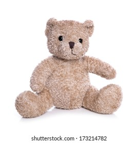 Isolated teddy bear on a white background