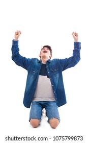 isolated teenager celebrating success