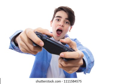 isolated teenager playing video games
