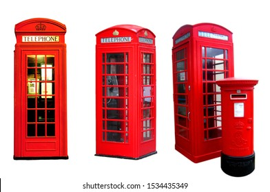 isolated telephone box on white background