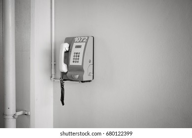 Isolated telephone on the wall