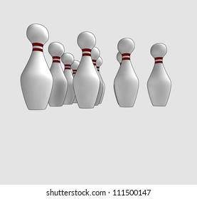 isolated ten skittles ready to play a bowl game in perspective down view clip art vector illustration