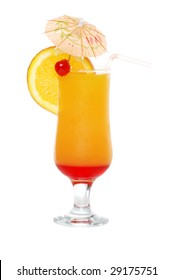 Isolated Tequila sunrise with an umbrella