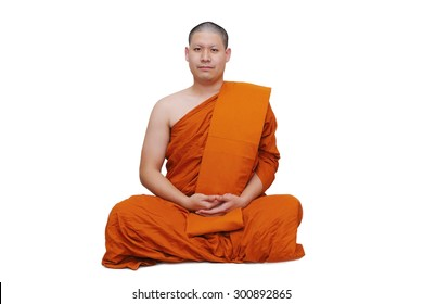 isolated thai monk on white background
