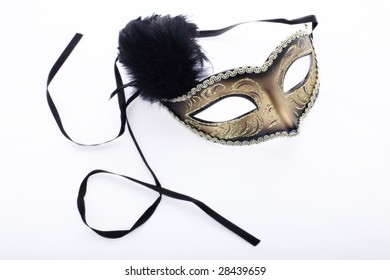 Isolated theatre mask on white background with ribbons