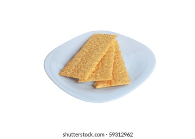 isolated three pieces of dietary bread on a plate