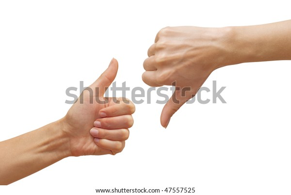isolated thumbs up and thumbs down